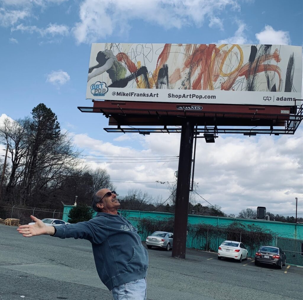 """Artist Mikel Frank Billboard ArtPop Street Gallery """"Let The Sunshine""""in The Creatives Daily Presents"""